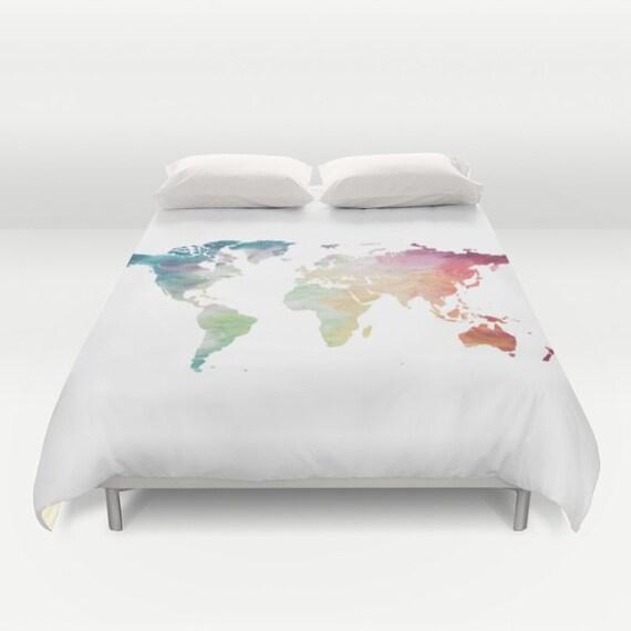 World Map Duvet Cover Full Queen King Duvet Painted Map
