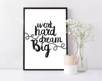 Handmade Framed print - Family / Gift / Birthday / Anniversary - Work hard dream big