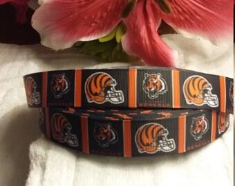 3 yards, 7/8 Cincinnati Bengals design Grosgrain ribbon
