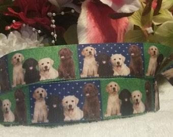 "3 yards, 7/8"" puppy design grosgrain ribbon"