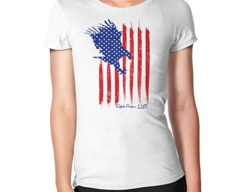 Eagle American Flag Patriotic Women's Tee