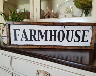 "Farmhouse Sign • Framed Wooden ""Farmhouse"" Sign•Painted Sign • Farmhouse Style • Farm Sign • Farmhouse • Rustic Sign • Country Style"