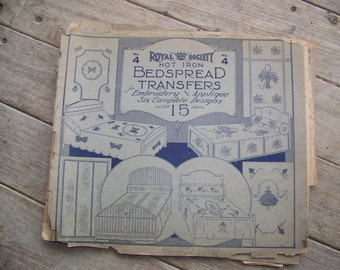 2 Antque Royal Society Hot Iron NO. 3 and 4 Bedspread Transfers
