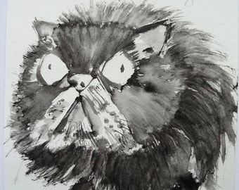 Hieronymus Bosch the Persian Cat, original watercolour painting by Andy Shaw