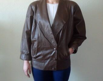 Vintage Leather Jacket 80s Leather Jacket Womens Leather Jacket Brown Leather Jacket Oversized Jacket Biker Rocker Jacket Padded Shoulder