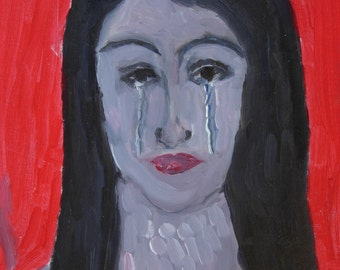 Self-portrait with red collar in tears