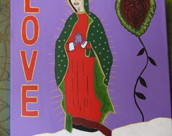 Day of the Dead Virgin Mary LOVE acrylic painting