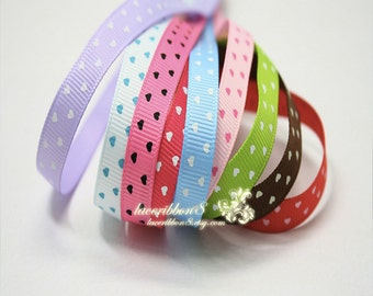 "100 Yards/ Roll - 3/8"" Valentine Love Heart Grosgrain Ribbons, Blue Pink Purple Green Ribbon  With Hearts, Ribbon DIY Accessories"