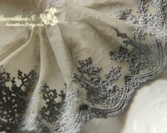 Dark Grey Lace Trim Gray Floral Tulle Lace Embroidery - width 8cm 3 inches, 2 yards Lace
