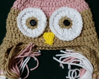 Toddler owl ear flap beanie hat