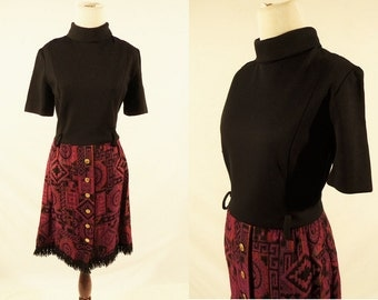 1960's Short Sleeve tribal print dress,turtleneck dress