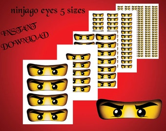 INSTANT DL- Ninjago eyes -for Balloon, Stickers, Lollipop, Favor bags, Cups - Ninjago birthday party (SET of 5 sizes)