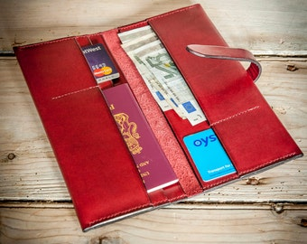 Slim Travel Wallet in Maroon with matching tab