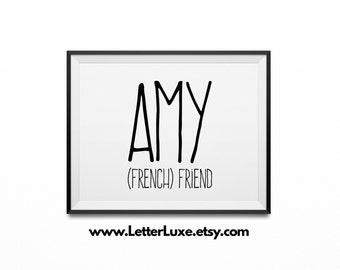Amy Name Meaning Art - Landscape Printable Baby Shower Gift - Nursery Printable Art - Digital Nursery Decor - Horizontal Typography Wall