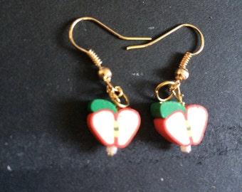 Apple bead dangle earrings