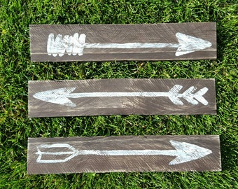 Set of 3 heavily distressed wood sign arrows