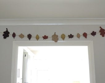 Felt Autumn Leaf Garland, Bunting for Home Decor, Autumn, Halloween