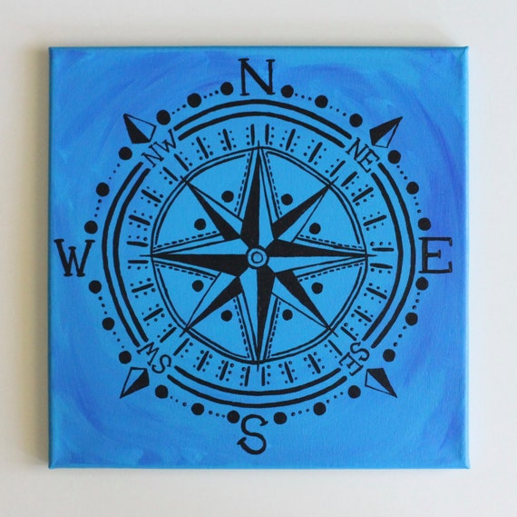 Compass Rose Black Compass Bohemian Art Nautical By
