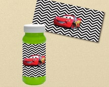 Lightning McQueen Party Printables, Cars bubble labels, bubble wrappers, Disney Cars Birthday Party, printable file, Lighting McQueen Cars