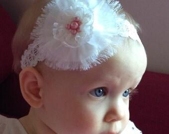 Christening, headband, baby headband, ivory baby headband, baptism headband