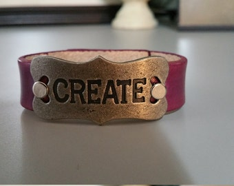 Leather Bracelet Cuff -Purple-Create