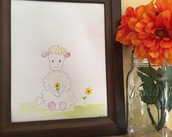 Baby Lamb Nursery, Baby Lamb Nursery Art, Lamb Nursery Print, Baby Shower gift, Baby Girl Gift, Baby Lamb Handmade Watercolor Art Print