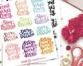Inspirational Watercolour Planner Stickers | Life Planner  Floral | Inspire | Brush Script Lettering | Motivational | Positive