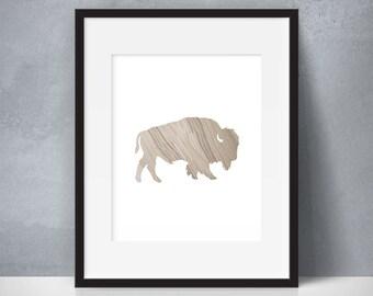 Wood Grain Buffalo, Bison, Wildlife, Woods, Animal, Profile, Silhouette, Wall Decor, Wood, Printable Wall Art, HOLIDAY GIFTS, HOLIDAY Sale