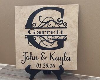 Monogrammed Tile, Established Sign, Wedding Gift, Gifts for Couple, Wedding Gift Ideas, Wedding Gifts, Name, Wedding Shower, Gift for Bride