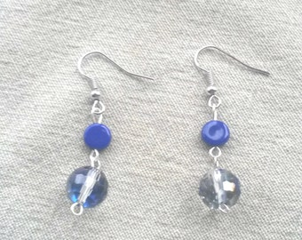 Royal Blue and Faceted Crystal Earrings