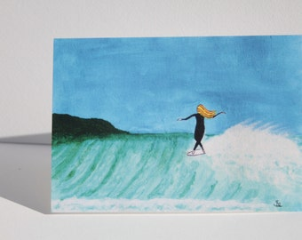Walking the nose Surfer girl greeting card