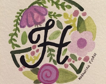 Floral H Watercolor Painting