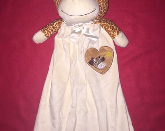 20 inch personalized giraffe baby blanket