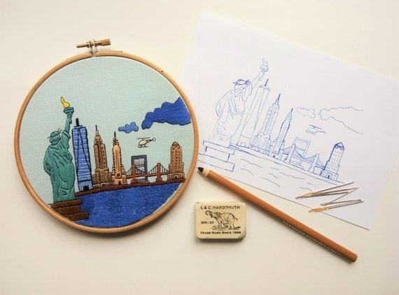 New york usa hand embroidery pattern pdf