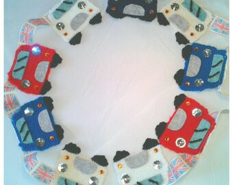 Hand knitted,classic car,bunting,man cave,rally,festival