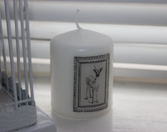 Hand decorated Deer Print and Antler Non Scented Candle
