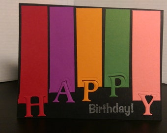 Multi-colored cut out birthday card