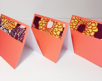 Blank Cards with Envelopes // Floral Print Greeting Card // Orange and Berry Greeting Card // Wax Print Blank Card