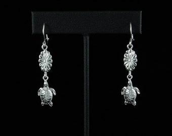 West Indian Sea Turtle Hanging Earrings in .925 Sterling Silver