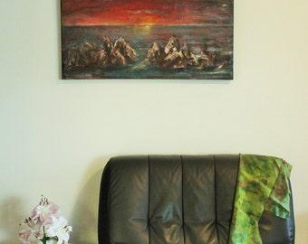Sunset on rocks, #seascape, original acrylic painting