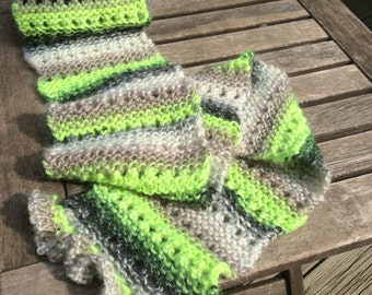 Neon green, charcoal gray, eyelet and ruffled scarf