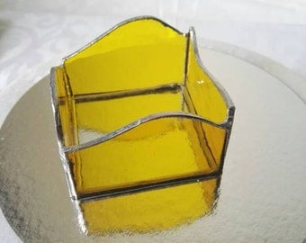 Candle holder stained glass, yellow water glass