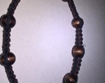 Brown beaded hemp bracelet