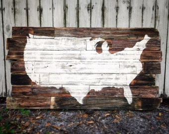 Reclaimed wood Rustic USA Map
