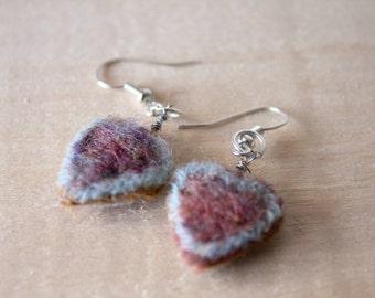 Heart earrings- Felted wool  earrings- Red earrings- Gift for her