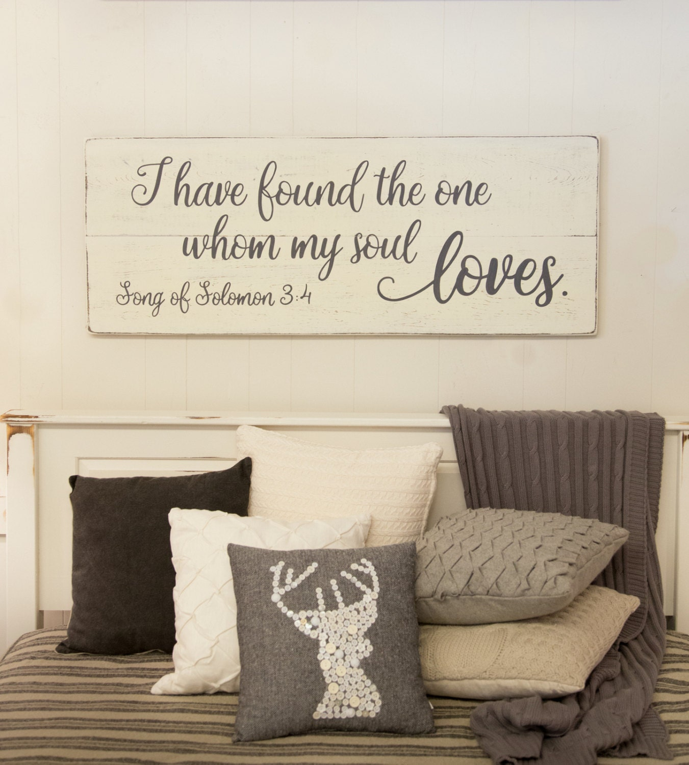 Bedroom wall decor wood sign song of solomon 3 4 i have for Master bedroom wall decor