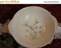 """Fall Clearance Sale Crooksville China 9.25"""" Tab Handled Serving Bowl - Green and Gold Windfowers on Ivory Background"""