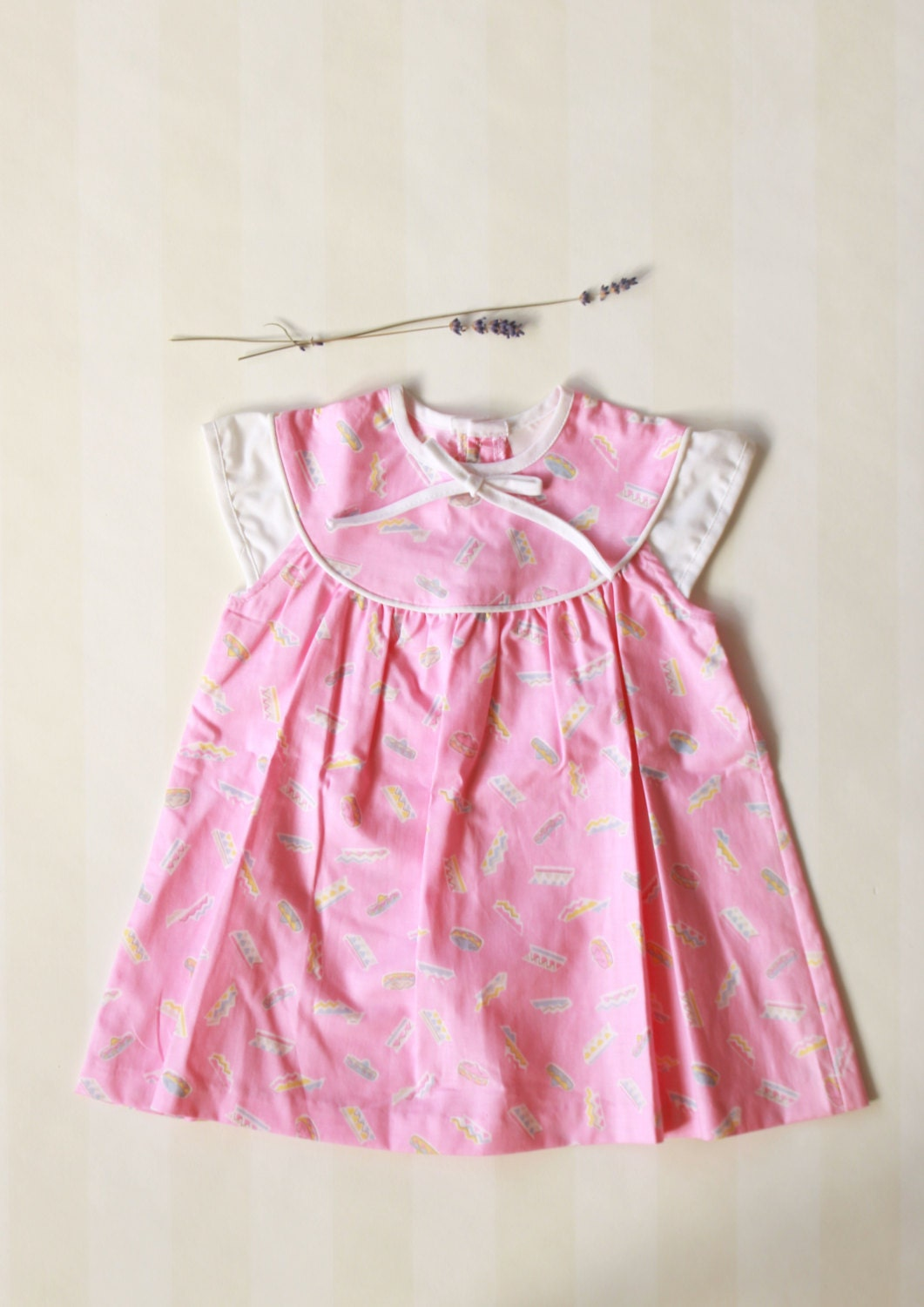 Vintage Baby Clothes Baby Girl Dress in Pink & White With a