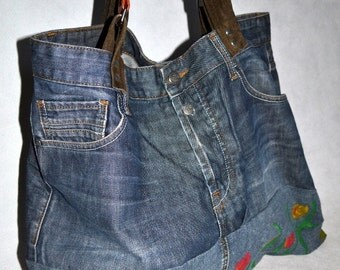 TULIP-Men's Jeans recycled into bag, hand-painted