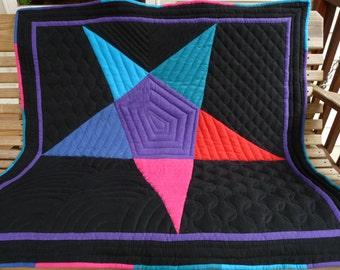 "Amish Star Flannel Baby Blanket  41"" x 42"""